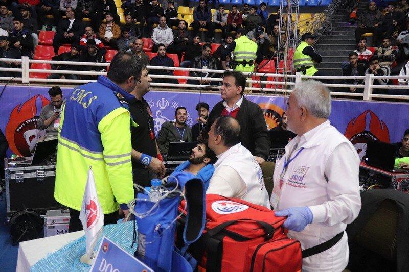 پوشش پزشکی مسابقات بین المللی کشتی فرنگی جام جهان پهلوان تختی در شیراز