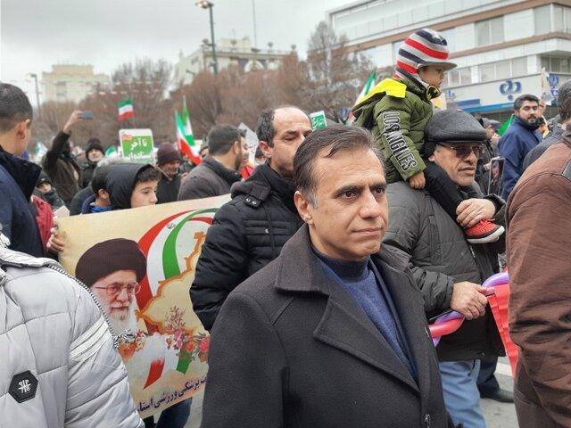 کارکنان هیات پزشکی ورزشی استان خراسان رضوی در راهپیمایی ۲۲ بهمن ۹۸