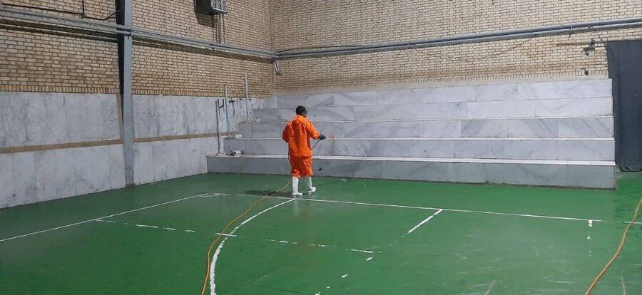 ضد عفونی وگندزدایی اماکن ورزشی استان کهگیلویه وبویراحمد به همت هیات پزشکی ورزشی استان