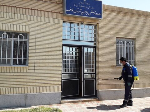 ضد عفونی و گند زدایی اماکن ورزشی شهرستان خواف استان خراسان رضوی