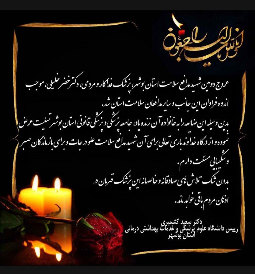 پیام تسلیت ریاست محترم دانشگاه علوم پزشکی استان بوشهر به مناسبت شهادت دکتر خضر خلیلی