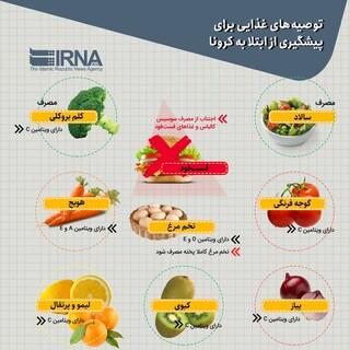 توصیههای غذایی برای پیشگیری از ابتلا به کرونا