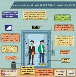 پیشگیری از کرونا در فضاهای بسته مانند آسانسور