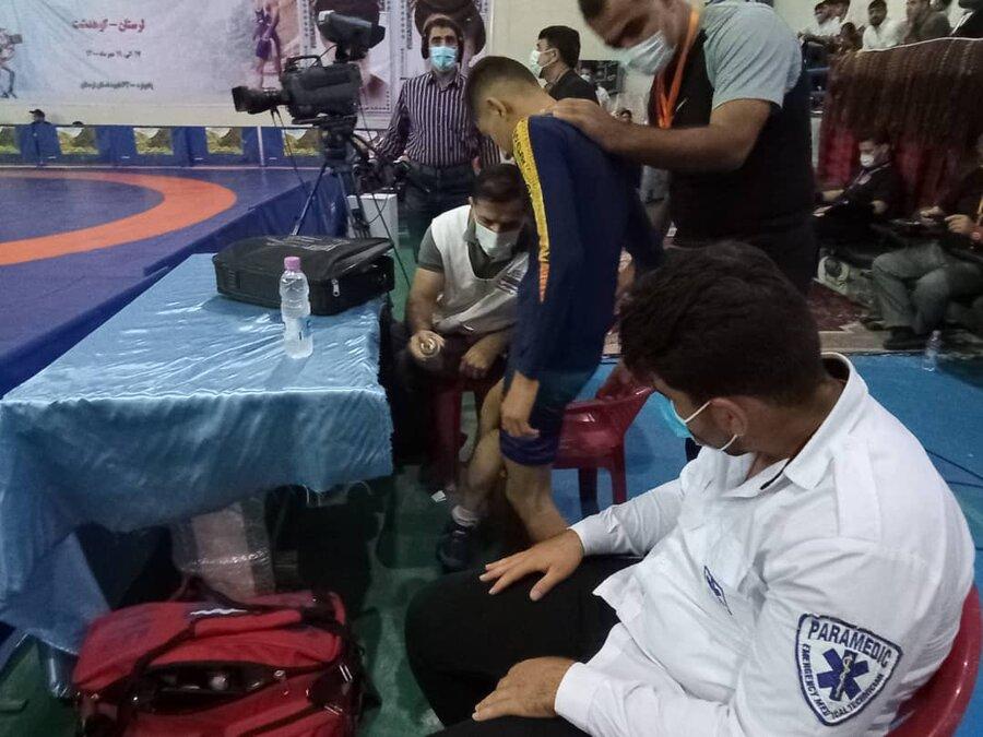 پوشش پزشکی مسابقات کشتی فرنگی قهرمانی نونهالان کشور